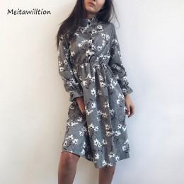 2020 jesienno-zimowa damska sukienki sztruksowe Casual z długim rękawem wysoka elastyczna talia kwiat wydruku Party Dress damska