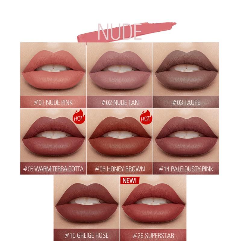 2017 marka FOCALLURE szminka matowy czerwone usta makijaż