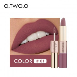 O.TWO.O 2 w 1 matowa szminka usta makijaż kosmetyki wodoodporne Pintalabios Batom błyszczyk Rouge 12 kolorów do wyboru