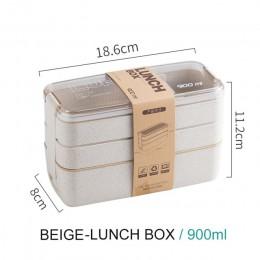 900ml przenośne bezpieczne dla zdrowia tworzywa pudełko na Lunch 3 warstwy słomiane Bento stołowe naczynia mikrofalowe pojemnik