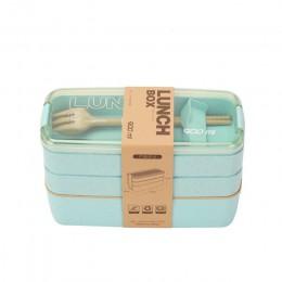 900ml bezpieczne dla zdrowia tworzywa pudełko na Lunch 3 warstwy słomiane Bento stołowe naczynia mikrofalowe pojemnik do przecho