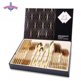Zastawa stołowa ekskluzywna elegancka nowoczesna złota oryginalna modna ze stali nierdzewnej