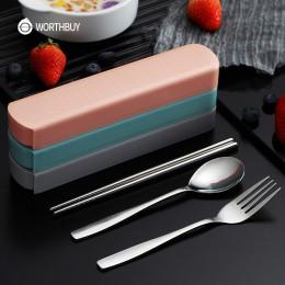 WORTHBUY Portable Travel zestaw stołowy sztućce ze stali nierdzewnej z pudełkiem kuchnia widelec łyżka zestaw obiadowy dla Kid S