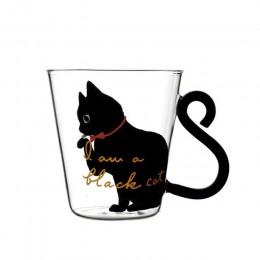 Szklany kubek z kocim wzorem do mleka kawy herbaty z uchwytem w kształcie kociego ogona na prezent na codzień