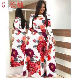 Elegancka wiosenna jesień kobiety sukienka 2019 Casual Bohmia kwiat drukuj Maxi sukienki moda Hollow Out tunika Vestidos sukienk