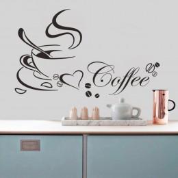 Kubek do kawy z serca vinyl kalkomania cytat restauracja kuchnia usuwalne naklejki ścienne dekoracje dla domu diy ścienne mural