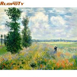 RUOPOTY obraz w ramie pole krajobraz ręcznie malowany obrazek według numerów ręcznie malowany obraz olejny nowoczesny obraz ście