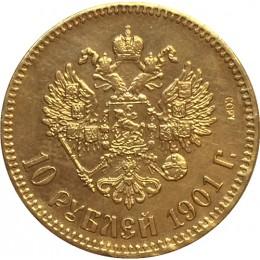 24-K pozłacane 1901 rosja 10 rubli złota moneta kopia