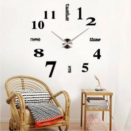 Duży zegar ścienny 3D nowoczesny Design cichy duży cyfrowy lustro akrylowe samoprzylepny zegar naklejany na ścianę do dekoracji