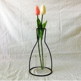 Nowy styl domu strona dekoracji Retro żelaza linia kwiaty wazon zakład metalurgiczny uchwyt nowoczesny jednolity wystrój domu No