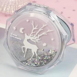 1pc Vintage Quicksand lustro do makijażu magia zwierząt podwójna boczna kieszeń lustro do makijażu dekoracja lustra dziewczyny d