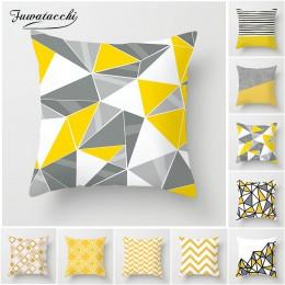 Fuwatacchi żółty diament Wave poszewki na poduszki poszewka na poduszkę ozdobną w geometryczne wzory dla krzesło domowe ozdoba s