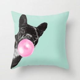 Cartoon zwierząt jednorożec ozdobna poszewka na poduszki powłoczka na poduszkę domowa wystrój żyrafa Sofa samochód talia 45x45cm
