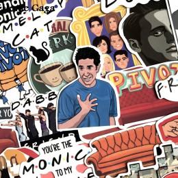 Homegaga 34 sztuk przyjaciele program telewizyjny fani prezent naklejka dekoracyjna dla DIY album scrapbooking bagaż Laptop tele